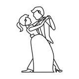 Couple wedding dancing outline Stock Photos