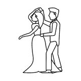 Couple wedding dancing outline Royalty Free Stock Photography