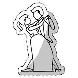 Couple wedding dancing romantic outline Royalty Free Stock Photography