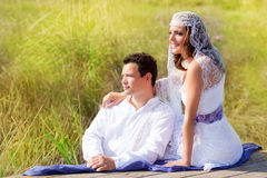 Couple wedding day fashion in outdoor Royalty Free Stock Image