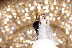 Couple wedding doll with bokeh Royalty Free Stock Images