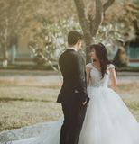Couple in Wedding Dresses Royalty Free Stock Images