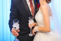 Couple with Wedding Glasses Royalty Free Stock Images