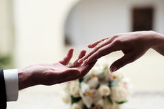 Couple at the wedding holding hands Royalty Free Stock Photo
