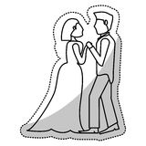 couple wedding holding hands romantic outline royalty free illustration