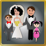 Couple Wedding With Kids Royalty Free Stock Photography