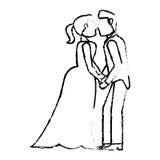 Couple wedding love kiss sketch Stock Photos