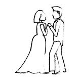 Couple wedding love sketch Stock Images