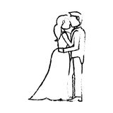 Couple wedding love sketch Stock Image