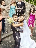 Couple at wedding outdoor. Royalty Free Stock Photography