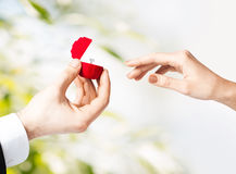 Couple with wedding ring and gift box Stock Image