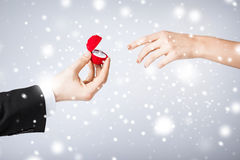Couple with wedding ring and gift box Stock Images