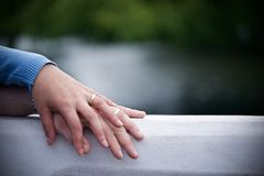 Couple With Wedding Ring Holding Hands Royalty Free Stock Photography