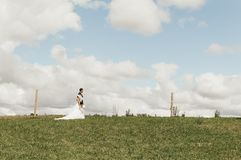 Couple in Wedding Suit and Dress on an Open Fiele Stock Images