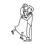 Couple wedding together romantic outline Royalty Free Stock Image