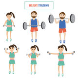 Couple with weight training vector. Royalty Free Stock Photography