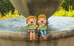 Couple Welcome. In the waterfall Stock Image