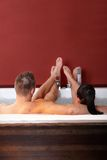 Couple in wellness jacuzzi Stock Photo