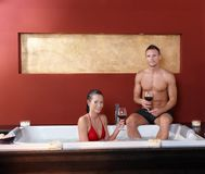 Couple in wellness jacuzzi Stock Photography