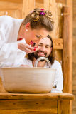 Couple at wellness spa enjoying Stock Images
