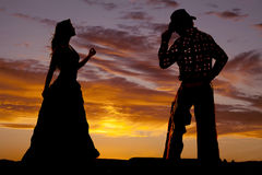 Couple western silhouette. A silhouette of a western cowboy and lady Royalty Free Stock Image