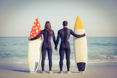 Couple in wetsuits with surfboard on a sunny day Royalty Free Stock Image