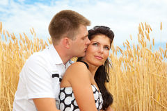 Couple in wheat Stock Photography