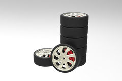 A couple of wheel. For passenger car in the studio Stock Photo