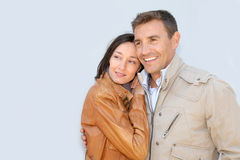 Couple on white background Royalty Free Stock Images