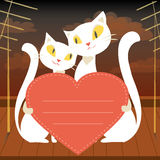 Couple of white cats and red  heart Stock Photography