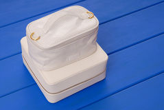 Couple of white leather boxes Stock Images
