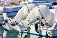 Couple of white outboard engines Royalty Free Stock Image