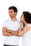 Couple in white t-shirts Royalty Free Stock Photo