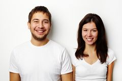 Couple in white T-shirts Royalty Free Stock Images