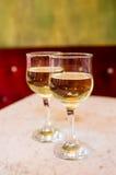 Couple of white wine glass Stock Image