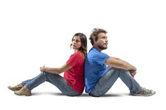 Couple who thinks Royalty Free Stock Images