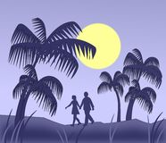Palm Trees in the Moonlight Royalty Free Stock Photo