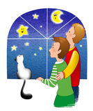 Couple at the window. A couple looking the nigth sky ouside the window stock illustration