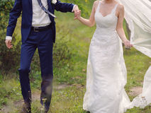 Couple at Windy Weather Stock Photos