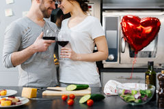 Couple with wine Royalty Free Stock Images