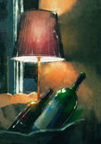 A couple of wine bottle and lamp glowing orange in the night Royalty Free Stock Images