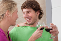 Couple with wine Royalty Free Stock Photography