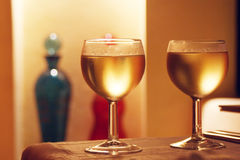 Couple of wine glasses. Two wine glasses at a romantic restaurant Royalty Free Stock Photos
