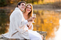Couple wine lake Stock Photo