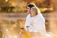 Couple wine outdoors Stock Photos