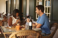 Couple wine tasting at winery restaurant Stock Photos