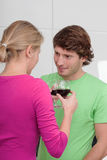 Couple and wine Royalty Free Stock Photos