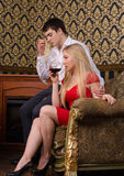 Couple and wine royalty free stock photo