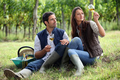 Couple of winegrowers Royalty Free Stock Photos
