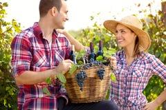 Couple of winegrowers in vineyard Stock Photo